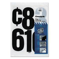 "Chartpak Press-On Vinyl Numbers, Self Adhesive, Black, 6""h, 21/Pack"