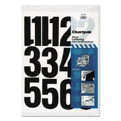 "Press-On Vinyl Numbers, Self Adhesive, Black, 4""h, 23/Pack"