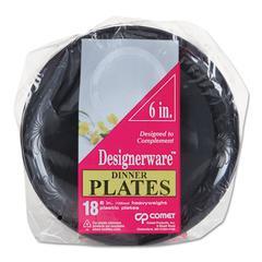 WNA Designerware Plastic Plates, 6 Inches, Black, Round, 10/Pack
