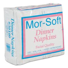 Dinner Napkins, 2-Ply, 15 x 17, White, 100/Pack, 30 Packs/Carton