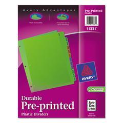 Avery Preprinted Plastic Tab Dividers, 12-Tab, Letter