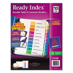 Ready Index Customizable Table of Contents Multicolor Dividers, 10-Tab, Letter