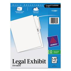 Avery Avery-Style Legal Exhibit Side Tab Divider, Title: 1-10, Letter, White