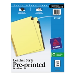 Preprinted Black Leather Tab Dividers w/Gold Reinforced Edge, 12-Tab, Ltr