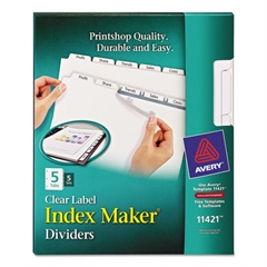 Print & Apply Clear Label Dividers w/White Tabs, Copiers, 5-Tab, Letter, 5 Sets