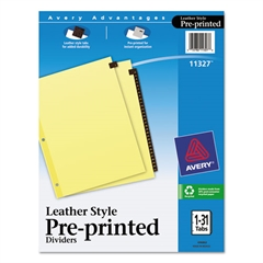 Avery Preprinted Red Leather Tab Dividers w/Clear Reinforced Edge, 31-Tab, Ltr