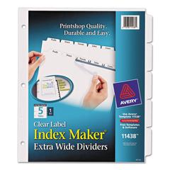 Print & Apply Clear Label Dividers w/White Tabs, 5-Tab, 11 1/4 x 9 1/4