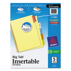 Avery Insertable Big Tab Dividers, 5-Tab, Letter