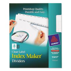 Avery Index Maker Print & Apply Clear Label Dividers w/White Tabs, 8-Tab, Letter