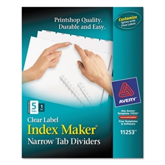 Avery Print & Apply Clear Label Unpunched Dividers w/White Tabs, 5-Tab, Ltr