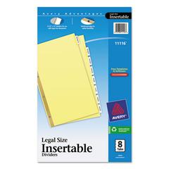 Insertable Standard Tab Dividers, 8-Tab, Legal