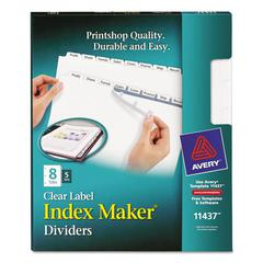 Avery Print & Apply Clear Label Dividers w/White Tabs, 8-Tab, Letter, 5 Sets