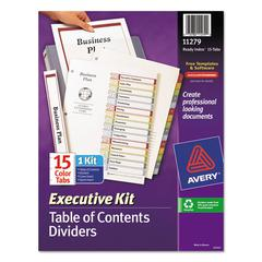 Ready Index Customizable Executive Table of Contents, Asst Dividers, 15-Tab, Ltr