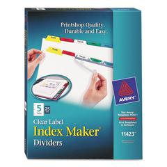 Print & Apply Clear Label Dividers w/Color Tabs, 5-Tab, Letter, 25 Sets