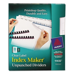 Print & Apply Clear Label Unpunched Dividers, 8-Tab, Ltr, 5 Sets
