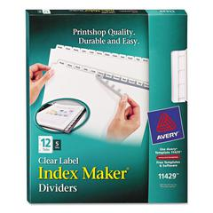 Print & Apply Clear Label Dividers w/White Tabs, 12-Tab, Letter, 5 Sets