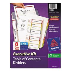 Avery Ready Index Customizable Executive Table of Contents, Asst Dividers, 8-Tab, Ltr