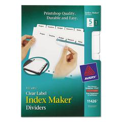 Print & Apply Clear Label Dividers w/White Tabs, 5-Tab, 5 1/2 x 8 1/2