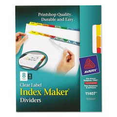 Avery Index Maker Print & Apply Clear Label Dividers w/Color Tabs, 8-Tab, Letter