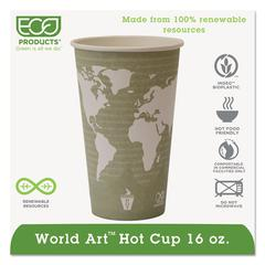 Eco-Products World Art Renewable Compostable Hot Cups, 16 oz., 50/PK, 20 PK/CT