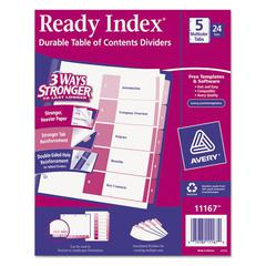 Avery Ready Index Customizable Table of Contents Asst Dividers, 5-Tab, Ltr, 24 Sets