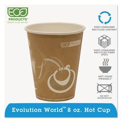 Evolution World 24% Recycled Content Hot Cups - 8oz., 50/PK, 20 PK/CT
