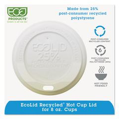 EcoLid 25% Recy Content Hot Cup Lid, White, Fits 8oz Hot Cups, 100/PK, 10 PK/CT