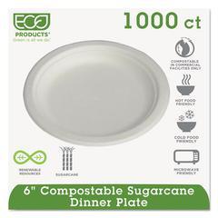 """Renewable & Compostable Sugarcane Plates Convenience Pack, 6"""", 50/PK, 20 PK/CT"""