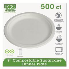 "Eco-Products Renewable & Compostable Sugarcane Plates, 9"", 500/Carton"