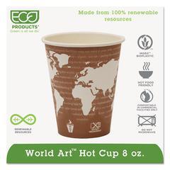 World Art Renewable Compostable Hot Cups, 8 oz., 50/PK, 20 PK/CT