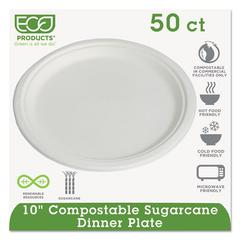 "Eco-Products Compostable Sugarcane Dinnerware, 10"" Plate, Natural White, 50/Pack"
