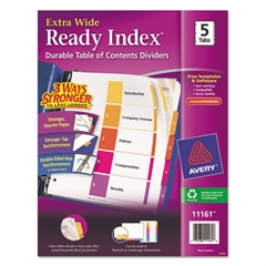 Avery Ready Index Customizable Table of Contents, Asst Dividers, 5-Tab, 11 x 9 1/2