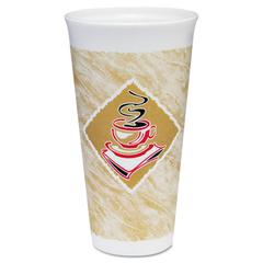 Dart Foam Hot/Cold Cups, 20 oz., Café G Design, White/Brown with Red Accents
