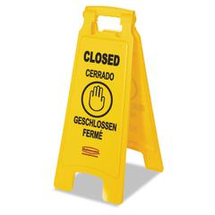 "Rubbermaid Commercial Multilingual ""Closed"" Sign, 2-Sided, Plastic, 11w x 1.5d x 26h, Yellow"