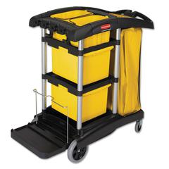 HYGEN M-fiber Healthcare Cleaning Cart, 22w x 48-1/4d x 44h, Black/Yellow/Silver