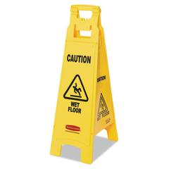 Rubbermaid Commercial Caution Wet Floor Floor Sign, 4-Sided, Plastic, 12 x 16 x 38, Yellow