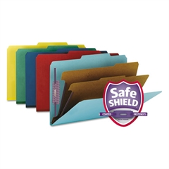 Smead Pressboard Classification Folders, Legal, Six-Section, Assorted Colors, 10/Box