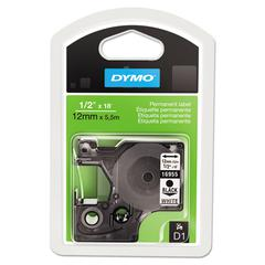 """DYMO D1 High-Performance Polyester Permanent Label Tape, 1/2"""" x 18 ft, Black on White"""