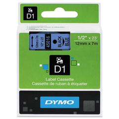 """DYMO D1 High-Performance Polyester Removable Label Tape, 1/2"""" x 23 ft, Black on Blue"""