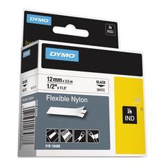 "DYMO Rhino Flexible Nylon Industrial Label Tape, 1/2"" x 11 1/2 ft, White/Black Print"