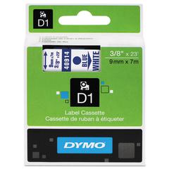 """DYMO D1 High-Performance Polyester Removable Label Tape, 3/8"""" x 23 ft, Blue on White"""