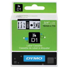 "D1 High-Performance Polyester Removable Label Tape, 3/4"" x 23 ft, Black on White"
