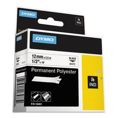 "Rhino Permanent Poly Industrial Label Tape, 1/2"" x 18 ft, White/Black Print"
