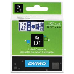 "DYMO D1 High-Performance Polyester Removable Label Tape, 1/2"" x 23 ft, Blue on Clear"