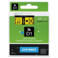 """DYMO D1 High-Performance Polyester Removable Label Tape, 1/2"""" x 23 ft, Yellow"""