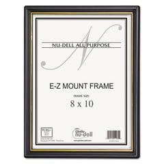 NuDell EZ Mount Document Frame/Accent, Plastic, 8 x 10, Black/Gold