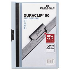 Durable Vinyl DuraClip Report Cover w/Clip, Letter, Holds 60 Pages, Clear/Light Blue
