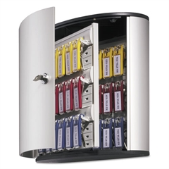 Durable Locking Key Cabinet, 36-Key, Brushed Aluminum, Silver, 11 3/4 x 4 5/8 x 11