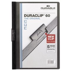 Durable Vinyl DuraClip Report Cover w/Clip, Letter, Holds 60 Pages, Clear/Black
