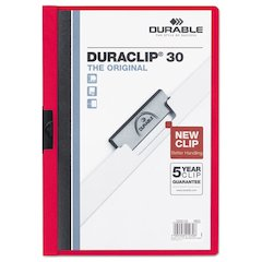 Durable Vinyl DuraClip Report Cover w/Clip, Letter, Holds 30 Pages, Clear/Red